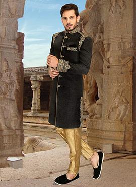 Black Jacquard Sherwani