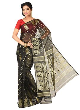 Black Jamdani Muslin Silk Zari Weaved Saree