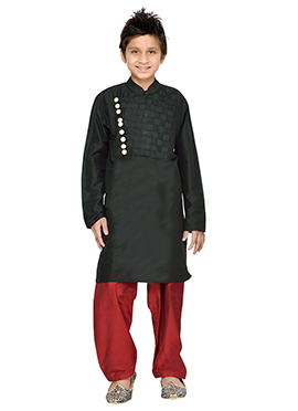 Black K N U Boys Kurta Pyjama