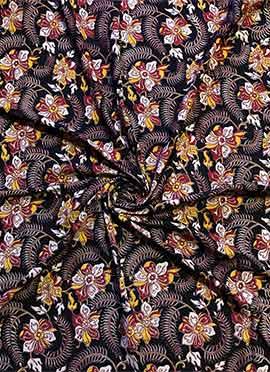 Black Kalamkari Cotton Fabric