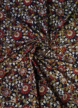 Black Kalamkari Fabric