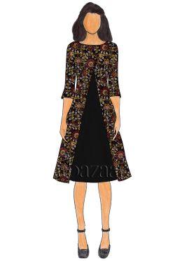 Black Kalamkari Jacket Style Kurti