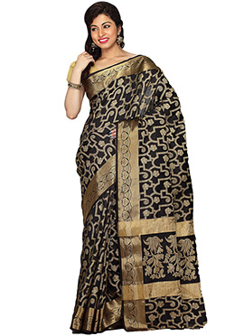 Black Kancheepuram Art Silk Saree