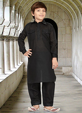 Black Kids Art Silk Cotton Pathani Set
