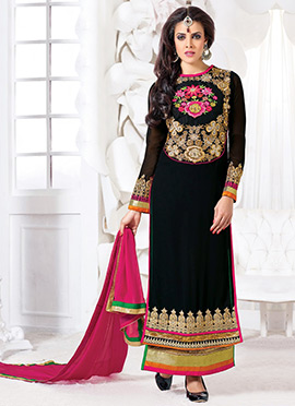 Black Layered Georgette Straight Suit
