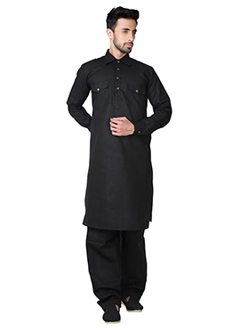 Black Linen Cotton Pathani Set