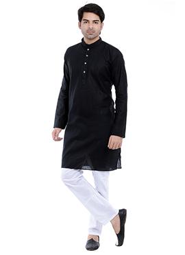 Black Linen N Cotton Kurta Pyjama
