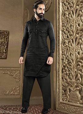 Black Linen Pathani Set