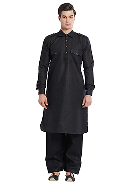 Black Linen Pathani Set