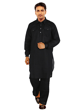 Black Linen Solid Patterned Pathani Suit
