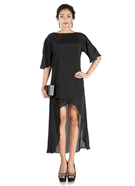 Black Low N High Overlapping Tunic