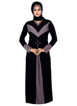 Black Lycra Beads Embellished Abaya