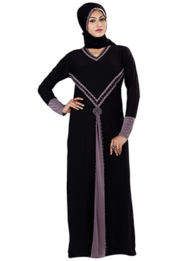 Black Lycra Beads Enhanced Abaya