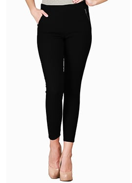 Black Lycra Cotton Straight Pant