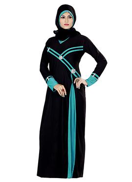 Black Lycra Embellished Abaya