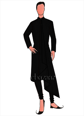 Black Lycra Flared Kurta Set
