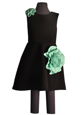 Fayon Black Lycra Kids Dress