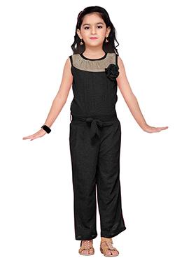 Black Lycra Kids Jumpsuit