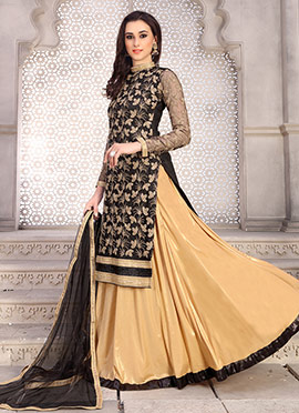 Black Lycra Net Umbrella Lehenga