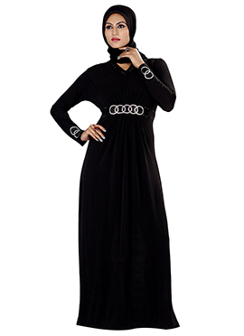 Black Lycra Stone Enhanced Abaya