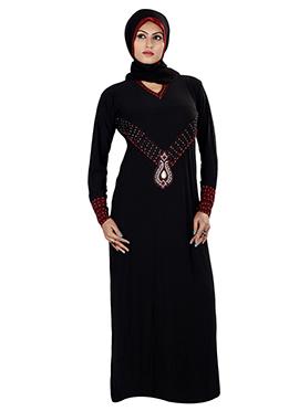 Black Lycra Stones Embellished Abaya