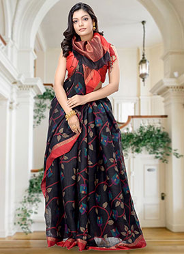 Black Matka Silk Saree