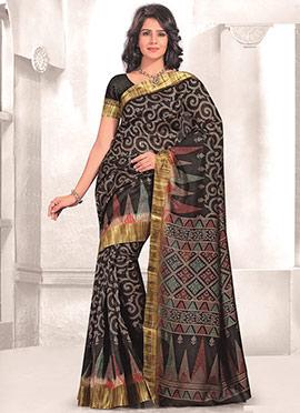 Black Mysore Art Silk Printed Saree