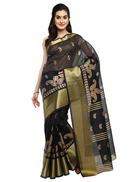 Black Mysore Blended Cotton Saree