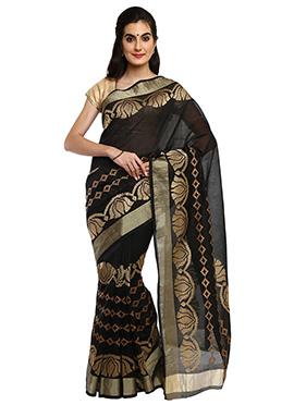 Black Mysore Blended Cotton Zari Woven Saree