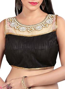 Black N Beige Art Silk N Net Blouse