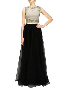 Black N Beige Art Silk N Net Skirt Set
