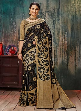Black N Beige Art Silk Saree