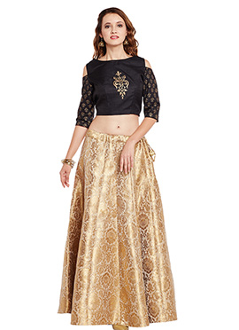 Black N Beige Bhagalpuri Art Dupion Silk Skirt Set
