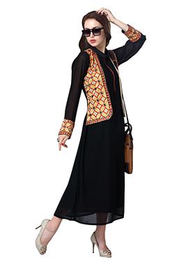 Black N Beige Jacket Style Kurti
