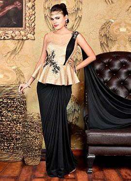 Black N Beige Lycra Saree Gown