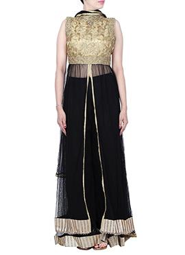 Black N Beige Net Front Slit Palazzo Suit