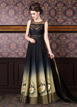 Black N Beige Ombre Floor Length Anarkali Suit