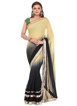 Black N Beige Ombre Georgette Saree