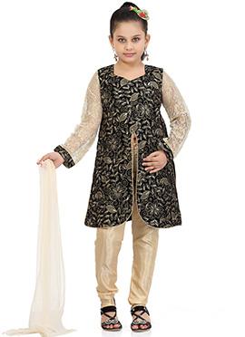Black N Beige Velvet N Net Churidar Suit