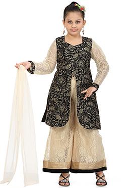 Black N Beige Velvet N Net Palazzo Suit