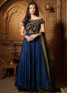Black N Blue Art Silk Abaya Style Anarkali Suit