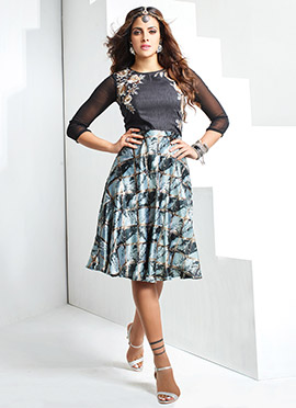 Black N Blue Art Silk N Satin blend Dress
