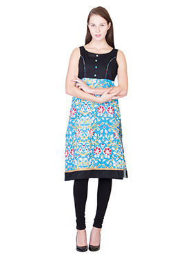 Black N Blue Blended Cotton Kurti
