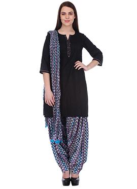 Black N Blue Pure Cotton Patiala Suit