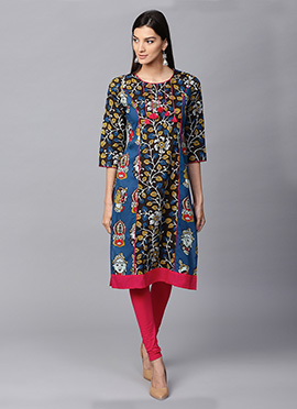 Black N Blue Cotton Knee Length Kurti