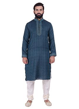 Black N Blue Cotton Silk Kurta Pyjama