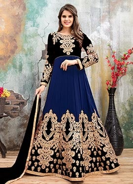 Black N Blue Georgette Abaya Style Anarkali Suit