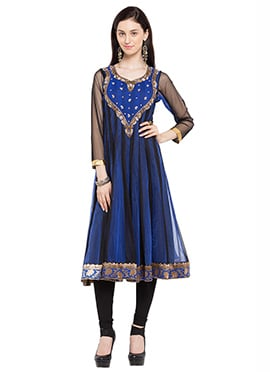 Black N Blue Georgette Embroidered Anarkali Kurti