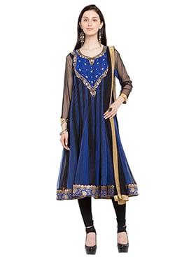 Black N Blue Net Fabric Embroidered Anarkali Suit