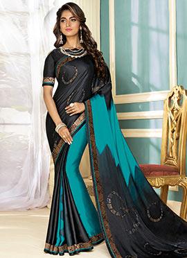 Black N Blue Sequins Work Saree